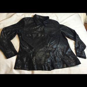 Ashley Stewart Women Sz 14 Black Croc Jacket EUC